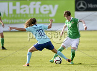 Press Eye - Belfast - Northern Ireland - 8th June. World Cup qualifier - Northern Ireland  v Netherlands at Shamrock Park Portadown.. Northern Irelands Kirsty McGuiness in action with Netherlands Danielle van de Donk. Mandatory Credit: Presseye/Stephen Hamilton