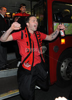 ©Press Eye Ltd Northern Ireland - 12th May 2012. Crusaders Davy Rainey is given a heros welcome at Seaview after the team won the Setanta cup . Mandatory Credit - Picture by Stephen Hamilton /Presseye.com. .