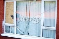 Press Eye - Belfast - Northern Ireland - 9th August 2018. The scene on Manor Street in north Belfast where a sectarian attack took place in the early hours of Thursday morning.  Police are investigating the incident which seen three properties were damaged when painted was thrown at them. .  . Picture by Jonathan Porter/PressEye