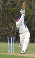 © Presseye Press Eye Ltd- Northern Ireland. May 5th 2012. Mandatory Credit Photo by Presseye.com. . NCU Ulster Bank Premier League. Instonians v CIYMS.. CIYMS\' Ryan Butterworth is bowled out by Inst\'sEugene Moleon