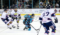 Press Eye - Belfast -  Northern Ireland -16th November 2019 - Photo by Darren Kidd/Presseye . Belfast Giants\' Ryan Lowney with Dundee Stars\' Shawn Boutin during Saturday nights Elite Ice Hockey League game at the SSE Arena, Belfast.    Photo by Darren Kid/Presseye