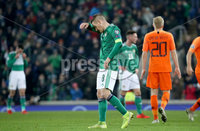 Press Eye - Belfast, Northern Ireland - 16th November 2019 - Photo by William Cherry/Presseye. Northern Ireland\'s Steven Davis at the final whistle in Saturday nights UEFA Euro 2020 Qualifier against Netherlands at the National Stadium, Belfast.     Photo by William Cherry/Presseye