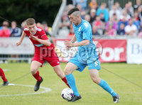 Press Eye - Belfast - Northern Ireland - 27th July 2018. SuperCupNI Cup International Youth Football Tournament at Ballymena\'s Showgrounds.  Supercut Final.  B Italia Vs Co. Down.. B Italia\'s Bariol Nicolas with Co. Down\'s Ruari O\'Kane. .. Picture by Jonathan Porter/PressEye