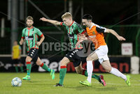 BetMcLean League Cup Round 3, The Oval, Belfast 10/10/2017. Glentoran vs Carrick Rangers. Glentoran\'s Corey McMullan with Carrick Rangers\' Mark Edgar. Mandatory Credit ©INPHO/Matt Mackey
