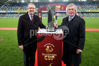 Unite the Union Champions Cup First Leg, National Football Stadium at Windsor Park, Belfast 8/11/2019. Linfield vs Dundalk. Unite general secretary Len McCluskey and Unite Ambassador Pat Jennings . Mandatory Credit  INPHO/Brian Little