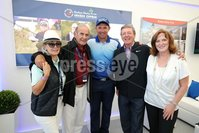 Press Eye - Belfast - Northern Ireland - 5th July  2018 . Dubai Duty Free Irish Open hosted by the Rory Foundation at Ballyliffin Golf Club, Co Donegal, Ireland.. Padraig Harrington with Brenda McLouhghlin, Colm McLoughlin, Des Smyth and Sinead El Sibai in the private, Dubai Duty Free Irish Open Chalet on the 18th Green at the Dubai Duty Free Irish Open at Ballyliffin Golf Club which was held from Wednesday 5th to Sunday 8th July.. Photo by Kelvin Boyes / Press Eye..