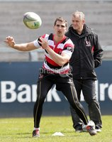 ©Press Eye Ltd Northern Ireland -26th April 2012. Mandatory Credit - Picture by Darren Kidd/Presseye.com .  Ulster training at Ravenhill ahead of Saturday's Heineken Cup semi final against Edinburgh at the Aviva Stadium in Dublin.. Ulster\'s Ruan Pienaar and coach Brian McLaughlin