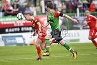 4th August 2018. Danske Bank Irish premier league match between Glentoran and Cliftonville at The Oval in Belfast.. Glentorans Peter McMahon  in action with Cliftonvilles Liam Bagnall.  Mandatory Credit: Stephen Hamilton /Inpho