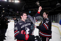 Press Eye - Belfast, Northern Ireland - 30th November 2019 - Photo by William Cherry/Presseye.  Northeastern Huskies Biagio Lerario celebrates after defeating Colgate Raiders to lift the prestigious Belpot trophy during Saturday evenings Friendship Four Championship game at the SSE Arena, Belfast.    Photo by William Cherry/Presseye