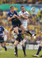 Heineken Cup Semi-Final, Stade Chaban Delmas, Bordeaux 29/4/2012. Clermont Auvergne vs Leinster. Leinster\'s Luke Fitzgerald and Lee Byrne of Clermont jump for the ball. Mandatory Credit ©INPHO/Billy Stickland