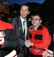 ©Press Eye Ltd Northern Ireland - 12th May 2012. Crusaders manager Stephen Baxter    is given a heros welcome at Seaview after the team won the Setanta cup . Mandatory Credit - Picture by Stephen Hamilton /Presseye.com. .