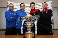 Presseye Northern Ireland - 01st May 2012 Mandatory Credit - Photo-William Cherry/Presseye. Linfield\'s William Murphy and captain Michael Gault with Crusaders\' Gareth McKeown and Jordan Owens during Tuesday evenings press conference ahead of Saturdays JJB Sports Irish Cup Final at Windsor Park.