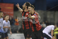 6th August 2018. Danske Bank Irish premier league match between Crusaders and Ards at Seaview.. Crusaders Declan Caddell celebrates after heading his side into a 4-2 lead.  Mandatory Credit: Stephen Hamilton /Inpho