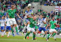 Press Eye Belfast - Northern Ireland 8th September 2018. UEFA Nations League 2019 Final Tournament at the National Stadium at Windsor Park.  Northern Ireland Vs Bosnia and Herzegovina. Northern Ireland\'s George Saville and Liam Boyce in the Bosnia and Herzegovina box. . Picture by Jonathan Porter/PressEye.com
