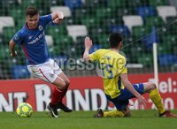 Danske Bank Premiership, Windsor Park, Belfast 2/12/2017. Linfield vs Dungannon Swifts. Linfield\'s Niall Quinn and Kris Lowe of Dungannon Swifts. Mandatory Credit @INPHO/Brian Little