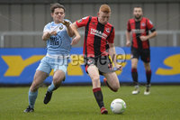 23/11/2019. Danske Bank Irish Premiership. Warrenpoint Town v Crusaders at Milltown.. Warrenpoints Lorcan Forde  in action with Crusaders Jarlaith ORoiurke. Mandatory Credit Presseye/Stephen Hamilton