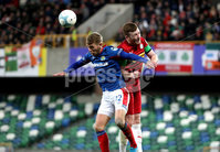 Press Eye - Belfast, Northern Ireland - 29th October 2019 - Photo by William Cherry/Presseye. Linfield\'s Kirk Millar with Cliftonville\'s Joe Gorman during Tuesday nights BetMcLean League Cup game at Windsor Park, Belfast.     Photo by William Cherry/Presseye