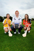 Press Eye - Belfast - Northern Ireland - 9th May 2012 . Ulster Camogie and GAA Hurling All Ireland Senior Championship. Picture by Elaine Hill / Press Eye. Meabh Lavery - Antrim Camogie, Ryan Gaffney Armagh Hurling and Rachel Merry Armagh Camogie