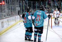 Press Eye - Belfast, Northern Ireland - 06th December 2019 - Photo by William Cherry/Presseye. Belfast Giants\' Ryan Lowney celebrates scoring against the Sheffield Steelers during Friday nights Elite Ice Hockey League game at the SSE Arena, Belfast.       Photo by William Cherry/Presseye