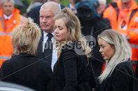 Press Eye - Belfast - Northern Ireland - 11th July 2018. Funeral for road racer William Dunlop at Garryduff Presbyterian Church outside Ballymoney in Co. Antrim.  The 32-year-old was killed while participating in the practise session of the Skerries 100 in Co. Dublin lat Saturday.  William\'s father Robert was also buried from Garryduff Presbyterian Church when he died at the North West 200 road race in 2008.. William Dunlop\'s partner Janine arrives for the service. . Picture by Jonathan Porter/PressEye