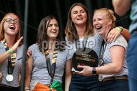 Irish Hockey Team Homecoming, Dublin 6/8/2018. Ireland\'s Zoe Wilson, Roisin Upton, Deirdre Duke and Ayeisha McFerran. Mandatory Credit  ©INPHO/Tommy Dickson
