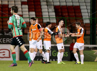 BetMcLean League Cup Round 3, The Oval, Belfast 10/10/2017. Glentoran vs Carrick Rangers. Carrick Rangers\' Mark Edgar celebrates scoring. Mandatory Credit ©INPHO/Matt Mackey