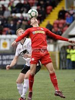 . Danske Bank Premiership, Solitude, Belfast 3/11/2018. Cliftonville vs Glentoran. Cliftonville\'s Jay Donnelly  in action with Glentorans John Herron. Mandatory Credit INPHO/Stephen Hamilton
