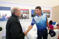 Press Eye - Belfast - Northern Ireland - 5th July  2018 . Dubai Duty Free Irish Open hosted by the Rory Foundation at Ballyliffin Golf Club, Co Donegal, Ireland.. Padraig Harrington with Colm McLoughlin in the private, Dubai Duty Free Irish Open Chalet on the 18th Green at the Dubai Duty Free Irish Open at Ballyliffin Golf Club which was held from Wednesday 5th to Sunday 8th July.. Photo by Kelvin Boyes / Press Eye..