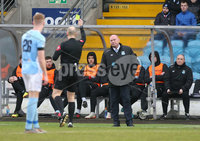 Danske Bank Premiership, Showgrounds, Ballymena . 7/3/2020. Ballymena United FC v Coleraine FC. Ballymena United\'s manager David Jeffrey shown a yellow card by referee Steven Gregg.. Mandatory Credit  INPHO/Brian Little