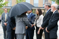 Press Eye - Belfast - Northern Ireland - 13th June 2018 - . The Prince of Wales has visited the Omagh Hospital and Community Care Complex in County Tyrone. His two-day visit to Northern Ireland began in Belfast earlier on Tuesday. The Omagh Hospital and Primary Care Complex opened to patients on 20 June 2017 and provides a range of hospital and community healthcare services together in one place. It ushered in a new era of joined up health care provision in the district.  It replaces the 118-year-old Tyrone County Hospital and investment in new equipment and technologies have improved patient care. The new hospital in Omagh has a 24-hour Urgent Care and Treatment Centre which provides cardiac assessment, a treatment room, x-ray and scans.. The Prince of Wales is pictured meeting Órfhlaith Begley MP from Sinn Fein..  . Photo by Kelvin Boyes / Press Eye..