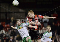25/01/2020. Danske Bank Premiership, Seaview, Belfast Co. Antrim . Crusaders v Cliftonville . Crusaders Rodney Brown  in action with Cliftonvilles Michael MccRUDDEN. Mandatory Credit INPHO/Stephen Hamilton.