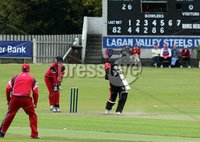 ©Press Eye Ltd Northern Ireland -12th May 2012 - Mandatory Credit - Picture by Matt Mackey/presseye.com. Irish Cup cricket Waringstown v Strabane at The Lawn.. Strabane\'s batsman Faisal Bell in action.