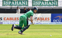 Mandatory Credit: Rowland White / PressEye. Cricket: Walton Tri-Series International. Teams: Ireland (light green) v Bangladesh (dark green). Venue: Malahide. Date: 19th May 2017. Caption: William Porterfield, Ireland