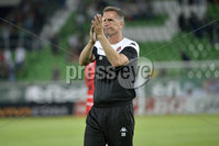 Wednesday 11th July 2018. UEFA Champions League First Qualifying Round First Leg between PFC Ludogorets Razgrad and Crusaders FC .. Crusaders manager Stephen Baxter pictured at the end of tonights game . Mandatory Credit: Inpho/Stephen Hamilton