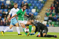 Press Eye Belfast - Northern Ireland 11th September 2018. International Challenge match at the National Stadium at Windsor Park in Belfast.  Northern Ireland Vs Israel. . Northern Ireland\'s Will Grigg and Israel\'s goalkeeper Guy Haimov. Picture by Jonathan Porter/PressEye.com