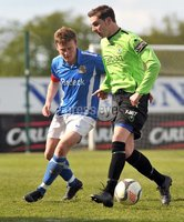 © Presseye Press Eye Ltd- Northern Ireland-April 21st 2012. Mandatory Credit Photo by Presseye.com. . Carling Premiership. Glenavon v Dungannon Swifts.Mourneview Pk.. Glenavon\'s Brendan Shannon. and Swifts\' Marc Brolly