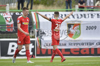 4th August 2018. Danske Bank Irish premier league match between Glentoran and Cliftonville at The Oval in Belfast..  Cliftonvilles Jay Donnelly celebrates after scoring his sides winning goal in a 2-1 win.  Mandatory Credit: Stephen Hamilton /Inpho