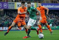 Press Eye - Belfast, Northern Ireland - 16th November 2019 - Photo by William Cherry/Presseye. Northern Ireland\'s Stuart Dallas with Netherlands\' Joel Veltman and Matthijs de Ligt during Saturday nights UEFA Euro 2020 Qualifier at the National Stadium, Belfast.     Photo by William Cherry/Presseye