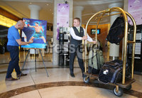 Press Eye - Belfast - Northern Ireland - 29th June 2018. Weigh in at the Europa Hotel in Belfast ahead of Michael Conlan\'s homecoming fight against Brazilian Adeilson Dos Santos at the SSE Arena on Saturday night. . Patrick Killian paints a picture of Michael Conlan in the hotel lobby.  . Picture by Jonathan Porter/PressEye