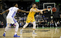 Press Eye - Belfast -  Northern Ireland - 01st December 2018 - Photo by William Cherry/Presseye. Buffalo\'s Montell McRae with San Francisco\'s Jimbo Lull during Saturday evenings Goliath Championship game of the Basketball Hall of Fame Belfast Classic at the SSE Arena, Belfast.