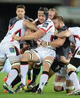 Press Eye - Belfast - Northern Ireland - 20th December 2014 - Picture by Ben Evans/ Press Eye . Ospreys v Ulster - Guinness PRO12 -. Franco Van Der Merwe of Ulster is tackleed by Alun Wyn Jones and Dmitri Arhip of Ospreys..