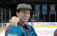 Press Eye - Belfast -  Northern Ireland - 11th January 2019 - Photo by William Cherry/Presseye. Belfast Giants player of the game Chris Higgins is presented after Friday nights Continental Cup Final game at the SSE Area, Belfast.   Photo by William Cherry/Presseye