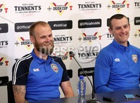 Press Eye - Belfast -  Northern Ireland - 27th April 2018 - Photo by William Cherry/Presseye. Coleraine\'s Gareth McConaghie and  manager Oran Kearney pictured during Wednesday nights Tennents Irish Cup Press Conference at the National Stadium, Belfast.