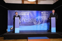 Press Eye - Belfast - Northern Ireland - 2nd June 2020 -  . Health Minister Robin Swann and Chief Social Worker Sean Holland during the daily media broadcast in the Long Gallery at Parliament Buildings, Stormont on Tuesday.. Photo by Kelvin Boyes / Press Eye..