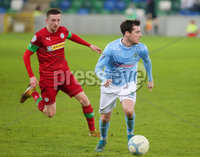 County Antrim Shield Final -  Windsor Park.  21.01.20. Cliftonville FC vs Ballymena United. Cliftonvilles Ronan Doherty with Ballymenas Andrew McGrory. Mandatory Credit INPHO/Jonathan Porter