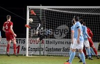 Tennent\'s Irish Cup Round 6, Windsor Park, Belfast 11/2/2019. Ballymena v Portadown. Ballymena\'s Ross Glendenning can\'t stop Adams Salleys shot from hitting the back of the net.. Mandatory Credit INPHO/Stephen Hamilton.