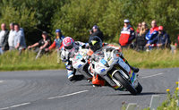 Mandatory Credit: Rowland White / PressEye. ULSTER GRAND PRIX. Venue: Dundrod. Date: 12th August 2017. Class: SUPERSPORT RACE 2. Caption: Bruce Anstey leading Lee Johnston