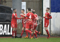Danske Bank Premiership, Solitude Belfast, Co Antrim 10/03/2018. Cliftonville  vs Crusaders . Cliftonville\'s Joe Gormley celebrates after he fires the Reds into a 1-0 lead. Mandatory Credit ©INPHO/Stephen Hamilton.