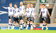 Unite the Union Champions Cup, Windsor Park, Belfast.  8/11/2019. Linfield  FC  vs Dundalk FC. Dundalk Daniel Kelly celebrates scoring against Linfield.. Mandatory Credit  INPHO/Brian Little