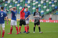 PressEye - Belfast - Northern Ireland - 06th May 2019. Harry Cavan Youth Cup Final. Linfield Rangers vs St. Oliver Plunkett. Pictured: Referee Jonny Reid displays a red card for Linfield Rangers\' keeper, Connor Friel.. Picture: Philip Magowan / PressEye